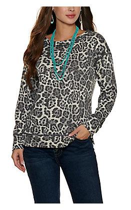 Moa Moa Women's Grey Cheetah Print Long Sleeve Top