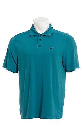 Cinch Men's ArenaFlex Turquoise Striped Short Sleeve Polo Shirt