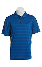 Cinch Men's ArenaFlex Blue Striped Short Sleeve Polo Shirt