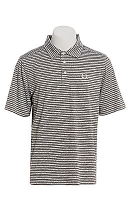 Cinch Men's ArenaFlex Grey And White Striped Short Sleeve Polo Shirt