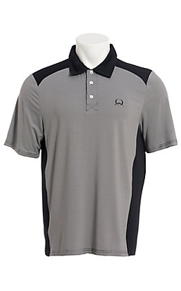 Cinch Men's ArenaFlex Black Striped Short Sleeve Polo Shirt