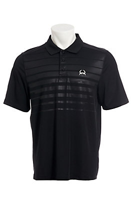 Cinch Men's ArenaFlex Black Embossed Short Sleeve Polo Shirt