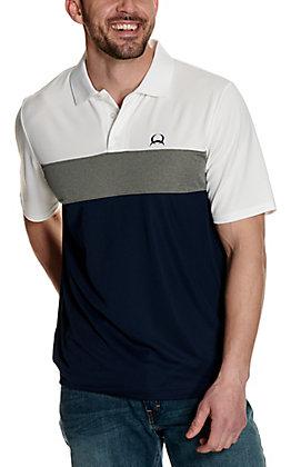 Cinch Men's ArenaFlex Black, Grey and White Color Block Short Sleeve Polo Shirt