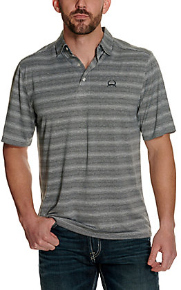 Cinch Men's ArenaFlex Grey Striped Short Sleeve Polo Shirt