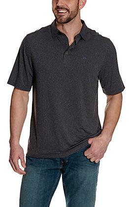 Cinch Men's ArenaFlex Grey with Purple Stripes Short Sleeve Polo Shirt