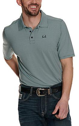 Cinch Men's ArenaFlex Light Blue Striped Short Sleeve Polo Shirt