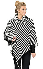 Allison Brittney Women's Black and White Stripe Poncho with Fringe