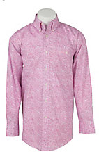 Wrangler Tough Enough To Wear Pink Men's Pink Print Long Sleeve Western Shirt