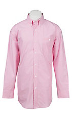 Wrangler Tough Enough To Wear Pink Men's Pink and White Stripe Long Sleeve Western Shirt