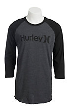 Hurley Men's Black Raglan Sleeve Tee Shirt