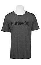 Hurley Men's Dark Grey with Black Logo on Front Short Sleeve Tri Blend T-Shirt