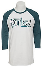 Hurley Men's White with Teal Original Logo Raglan Sleeve T-Shrit
