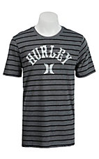 Hurley Men's Arched Heather Grey & Black Stripe Short Sleeve Tee