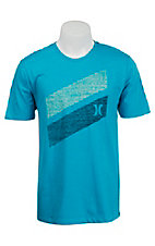 Hurley Men's Heather Blue Lagoon Icon Slash Push Through Short Sleeve Tee