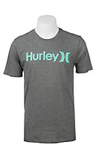 Hurley Men's Heather Grey with Aqua Logo Screen Print Short Sleeve T-Shirt
