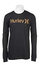 Hurley Men's Black with Gold Logo Long Sleeve T-Shirt