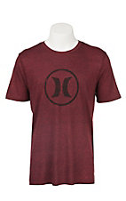 Hurley Men's Icon Dark Red Short Sleeve Tee