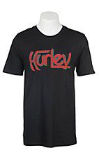 Hurley Men's Black with Red Logo Screen Print Short Sleeve T-Shirt