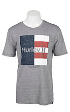 Hurley Men's Charcoal with Texas Flag Screen Print Short Sleeve T-Shirt
