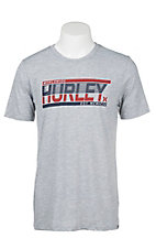 Hurley Men's Grey with Red and Navy Logo Screen Print Short Sleeve T-Shirt