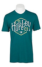 Hurley Men's Teal with White and Neon Yellow Screen Print Logo Short Sleeve T-Shirt