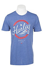 Hurley Men's Royal Blue with White and Red Icon Screen Print Short Sleeve T-Shirt