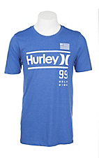 Hurley Men's Royal Blue with White Icon Screen Print Short Sleeve T-Shirt
