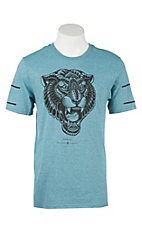 Hurley Men's Beta Blue with Black Graphic Tiger Screen Print Short Sleeve T-Shirt