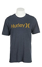 Hurley Men's Obsidian with Gold Logo Screen Print Short Sleeve T-Shirt