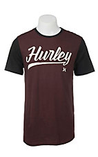 Hurley Men's Maroon with Mahogany Script Logo and Black Short Sleeves T-Shirt