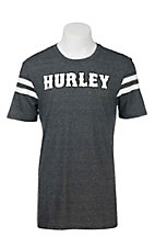 Hurley Men's Grey Black with White Logo and White Accents on Short Sleeves T-Shirt