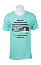 Hurley Men's Teal with Beach Logo Screen Print Short Sleeve T-Shirt