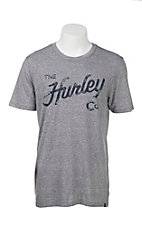 Hurley Men's Charcoal with Navy Script Logo Short Sleeve Tri Blend T-Shirt