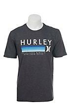 Hurley Men's Charcoal with Turquoise Screen Print Logo Short Sleeve T-Shirt