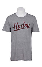 Hurley Men's Grey with Burgundy Script Logo Short Sleeve T-Shirt