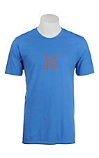 Hurley Men's Blue Icon Push Through Screen Print Logo Short Sleeve T-Shirt