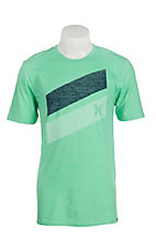 Hurley Men's Electric Green with Navy and White Push Through Logo Short Sleeve T-Shirt