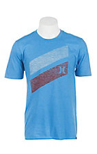 Hurley Men's Light Blue with Red and White Push Through Logo Short Sleeve T-Shirt