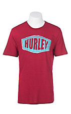 Hurley Men's Red with Blue Logo Short Sleeve T-Shirt