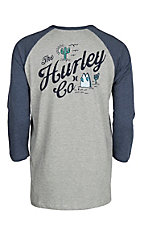 Hurley Men's Grey and Navy Raglan Cactus T-Shirt