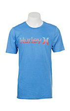 Hurley Men's Blue with Gradient Logo Short Sleeve T-Shirt