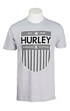 Hurley Men's Grey with Black Icon Screen Print on Front Short Sleeve T-Shirt