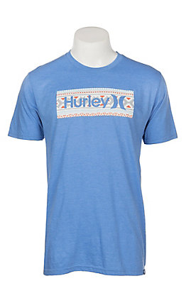 Hurley Men's Light Blue Aztec Logo S/S Graphic T-Shirt