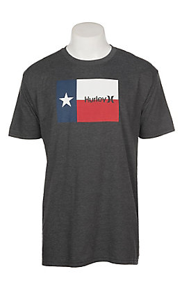 Hurley Men's Heather Black Texan Logo Short Sleeve Graphic T-Shirt