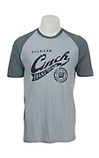 Cinch Men's Blue with Denim Brand Logo on Front Short Sleeve T-Shirt