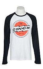 Cinch Men's White and Navy Jersey Raglan Long Sleeve T-Shirt