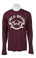 Cinch Men's Burgundy Logo Long Sleeve Thermal Tee