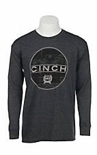Cinch Men's Charcoal with Screen Print Logo Long Sleeve T-Shirt