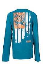 Cinch Men's Blue with Screen Print Logo Long Sleeve T-Shirt