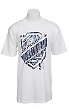 Cinch Men's White with Navy & Blue Shield Logo Short Sleeve Tee